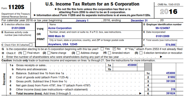 IRS%201120S%20Example%20650x335  Form Corps Example on m1 example, instruction booklet, tax return, where do we mail federal, examples filled out, business tax return, special deductions how find for, statement cash flows,