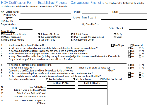 Example of an HOA Questionnaire
