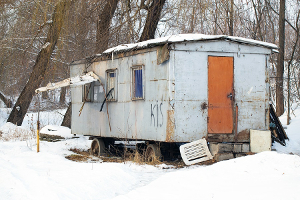 Old rusty trailer manufactured home