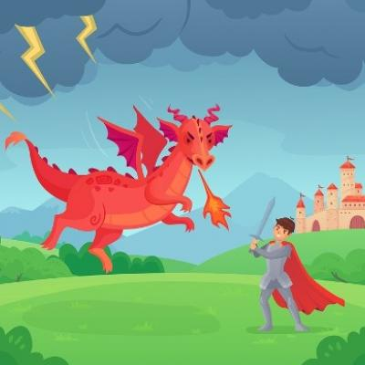 A cartoon-y image of a knight fighting a big red dragon